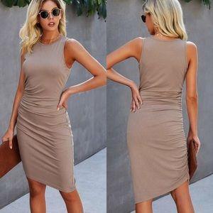 Midi dress ruched tank sleeveless light tan nude